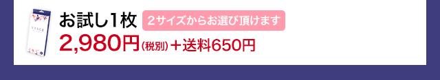 お試し1枚 2,980円(税別)+送料650円 2サイズからお選び頂けます